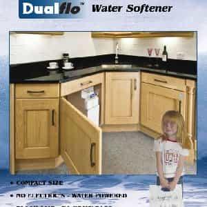 Harvey's Dualfo water softener in kitchen cabinet-min